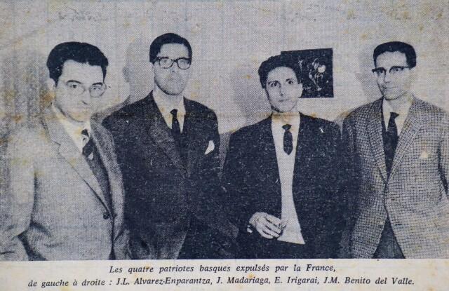 Les quatre fondateurs d'ETA, de gauche à droite, Txillardegi, Iulen Madariaga, Eneko Irigarai et J. M. Benito del Valle.