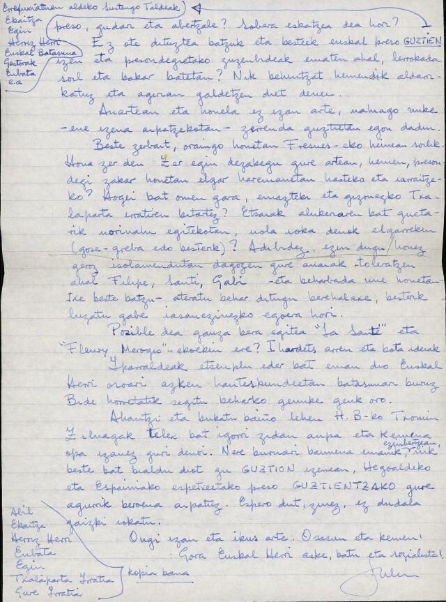 Lettre adressée de prison par Iulen Madariaga à Enbata et aux autres médias basque d'Iparralde. Il y plaide en faveur de la réconciliation des preso d'IK et d'ETA.