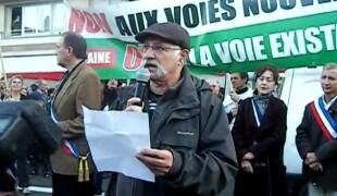 Victor Pachon, Président du CADE lors d'une manif contre la LGV
