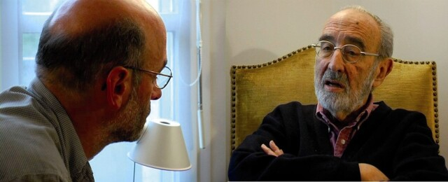 Michel Berhocoirigoin, premier secrétaire général de la Confédération paysanne avec l'ancien ministre de l'agriculture Edgar Pisani.